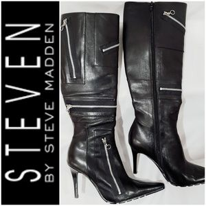 #213 EUC! STEVEN by Steve Madden Leather Boots *6M